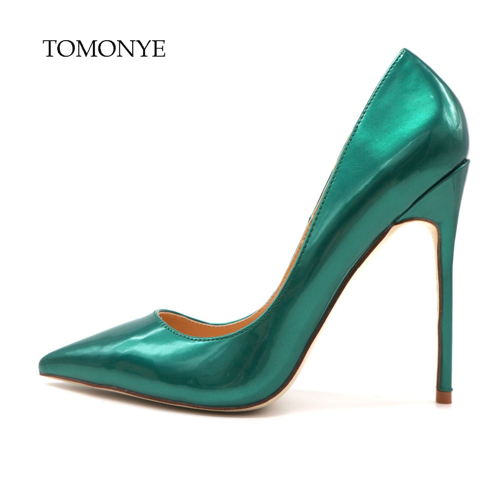 2019 spring new designer elegant dark deep green patent leather pointed toe women lady party evening