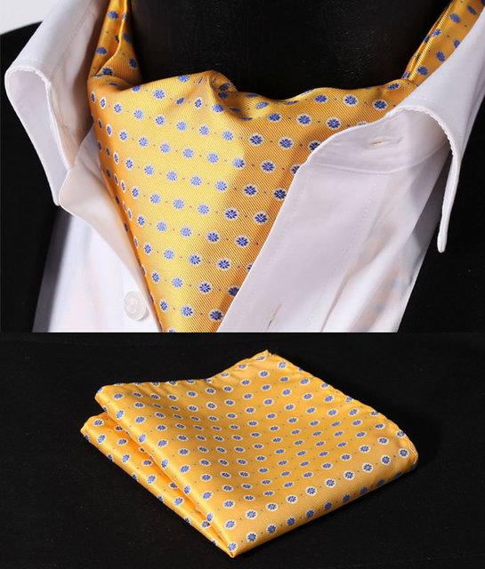 Rf202y azul tela de seda lenço Floral lenço gravata bolso praça Handkerchief Set