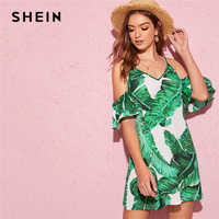 SHEIN Tropical Print Cold Shoulder Dress Boho Green Ruffle Cold Shoulder Summer Short Flounce Sleeve V Neck Flared Dress