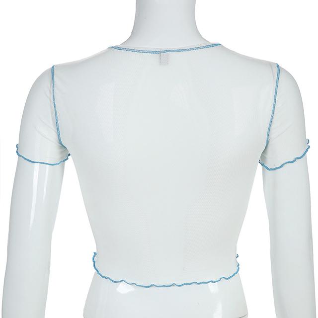 Camiseta de malla transparente de Waatfaak para mujer camiseta de verano sexi para mujer Camisetas con estampado de animales de dragón Crop Top retales Camiseta básica