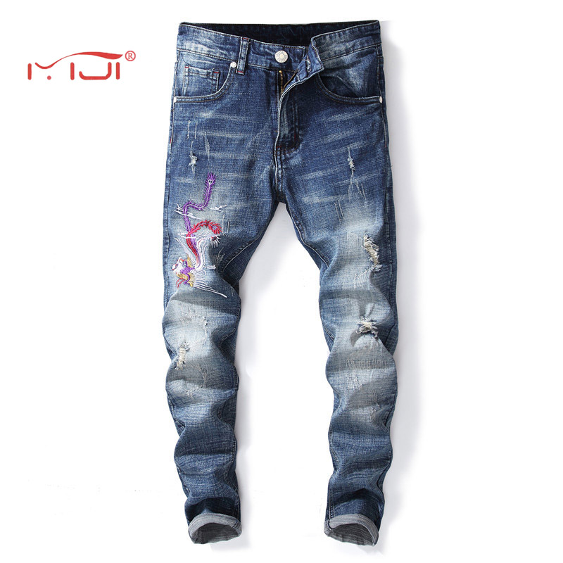 Embroidered Phoenix Mens Jeans 2018 New Mens Fashion Jeans Business Casual Stretch Slim Jeans 28-38 Denim Trousers
