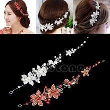 Clear Crystal Rhinestone Faux Pearl Flower Party Bridal Headband Hair Band Tiara
