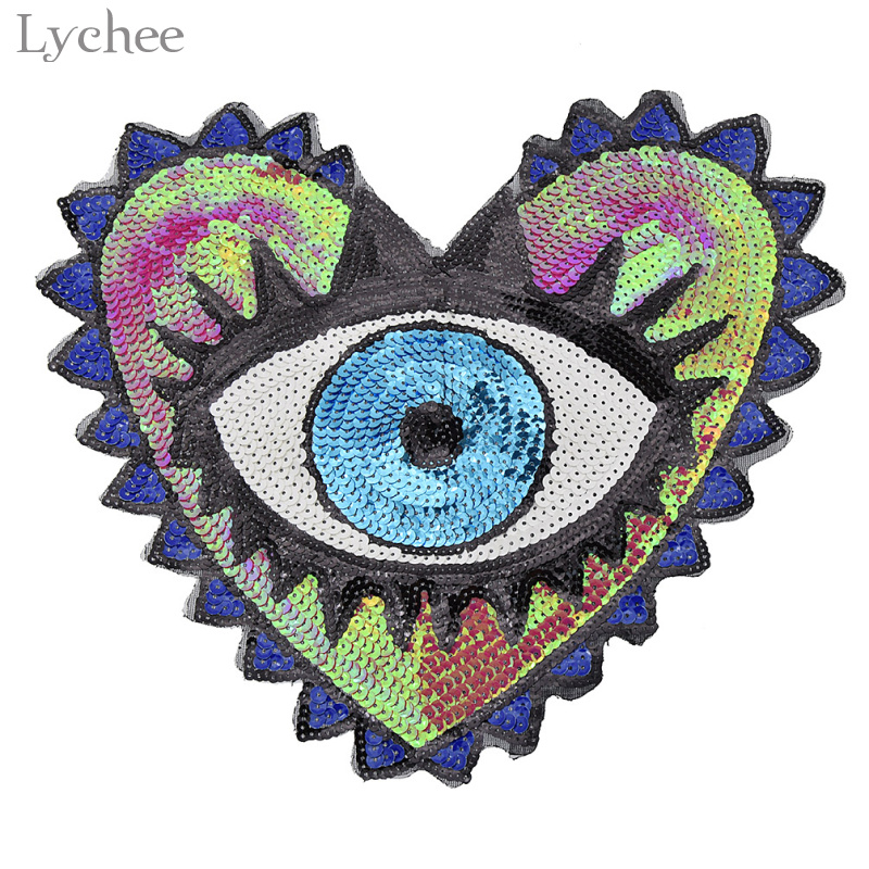 Diy Handmade Embroidered Patch: Aliexpress.com : Buy Lychee Sequined Heart Eyes Patches