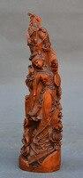 Ремесла статуя 8 Старый Китай Самшит цветок кран древние люди Красота Belle провести вентилятор Скульптура
