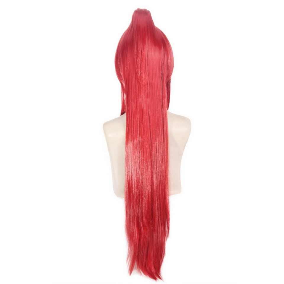 100 см Сказочный хвост Эрза алый прямой длинный парик для косплея красные синтетические волосы Аниме костюм на Хэллоуин женские парики с хвостом