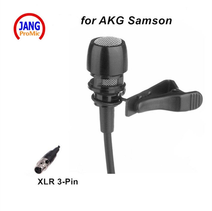 Microfone Condensador profissional Sistema de Microfone Sem Fio de Lapela Microfone AKG para Sansão Transmissor etc Mini XLR 3pin