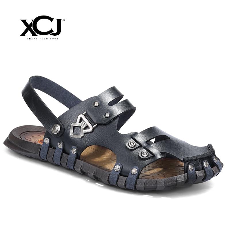 XCJ Men Sandals Men Beach Shose Brand Men Casual Shoes Genuine Split Leather Men Slippers Sneakers Flip Flops Summer Shoes