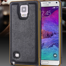 Note 4 Capa Metal Aluminum Frame+ Flexible PU Leather Case For Samsung Galaxy Note 4 IV N9100 Ultra Slim 2 in 1 Back Cover