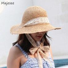 Женские Модные соломенные шляпы для отдыха в Корейском стиле, элегантные женские шляпы высокого качества с кружевом
