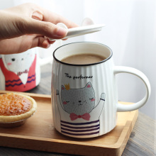 Stereo Embossed Cat Striped Ceramic Cup And Lid Cartoon Creative Mug Student Breakfast Milk Water Cute Kitty Coffee Mugs