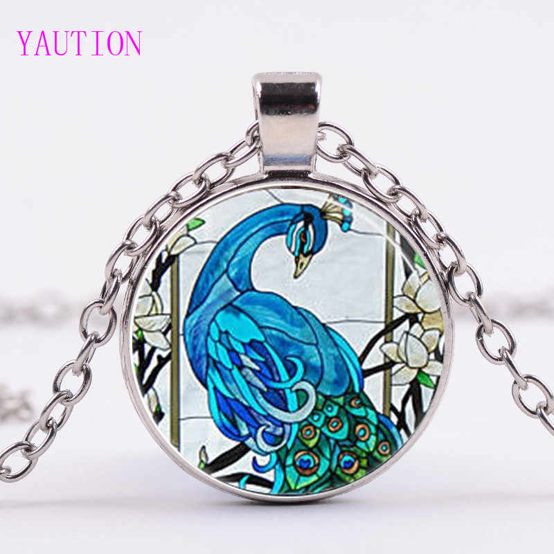 3/Color Cute Peacock Feather Necklace Locket Pendant Glass Dome Pendants Peafowl Necklaces Bird Statement Animal Jewelry Gifts