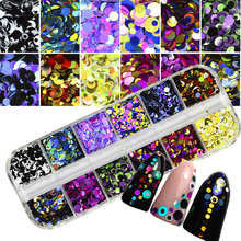 1 Set Dazzling Round Nail Glitter Sequins Dust Mixed 12 Grids 1/2/3mm DIY Charm Polish Flakes Decorations Manicure Tips Kit CHP