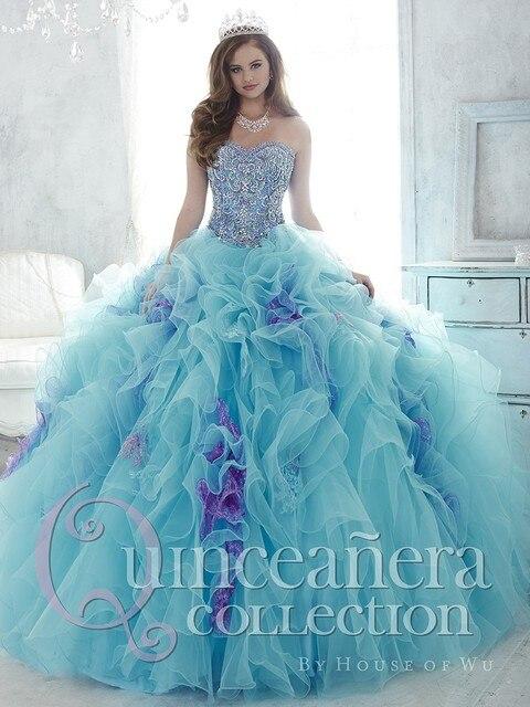 2016 Princesa Azul Branco Vestido de Baile Quinceanera Vestido de Organza Frisado barato Vestido de Concurso de Vestidos De 15 Años Sweet 16 Vestidos QD67