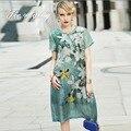 Платье вечера партии элегантный 2016 Европейская мода впп люксовый бренд одежды элегантный печати плюс размер белье шелковое платье L-4XL