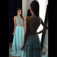 Robe De Soiree Mermaid Beaded Long Evening Dresses Party Elegant Vestido De Festa Sheer Neck Backless
