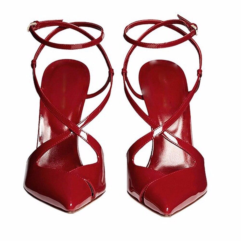 Pie Size4 nude Dedo Puntiagudo Zapatos 15 Mujeres Bombas atado Hebilla Inisastyle Nueva Del De Las Red 2018 Gran Damas Sandalias Correa hebilla Moda Tacón xR67gP