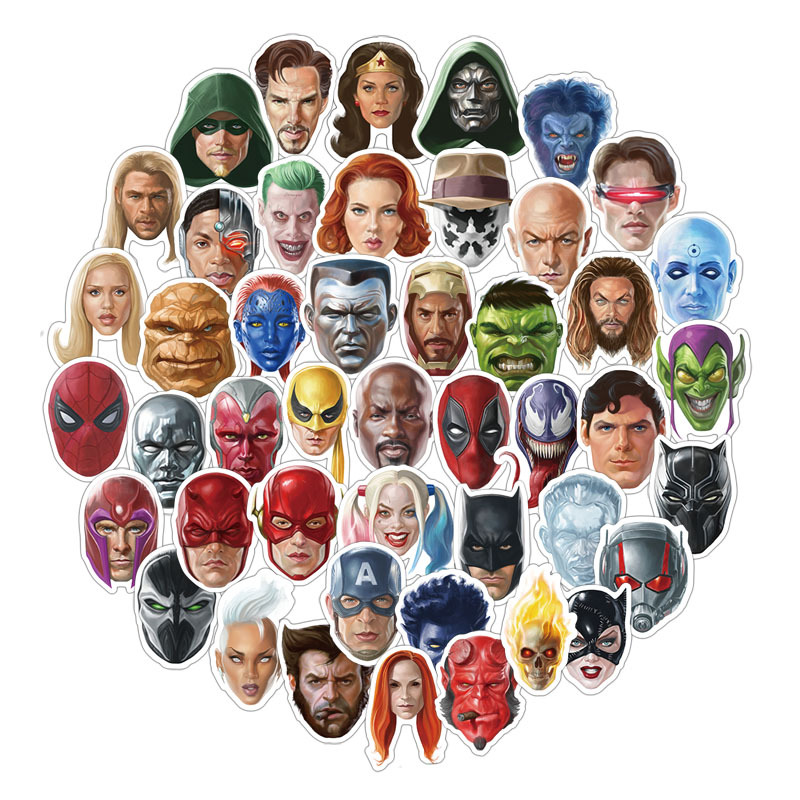 50PCS New personality Marvel head super hero stickers waterproof suitcase computer luggage