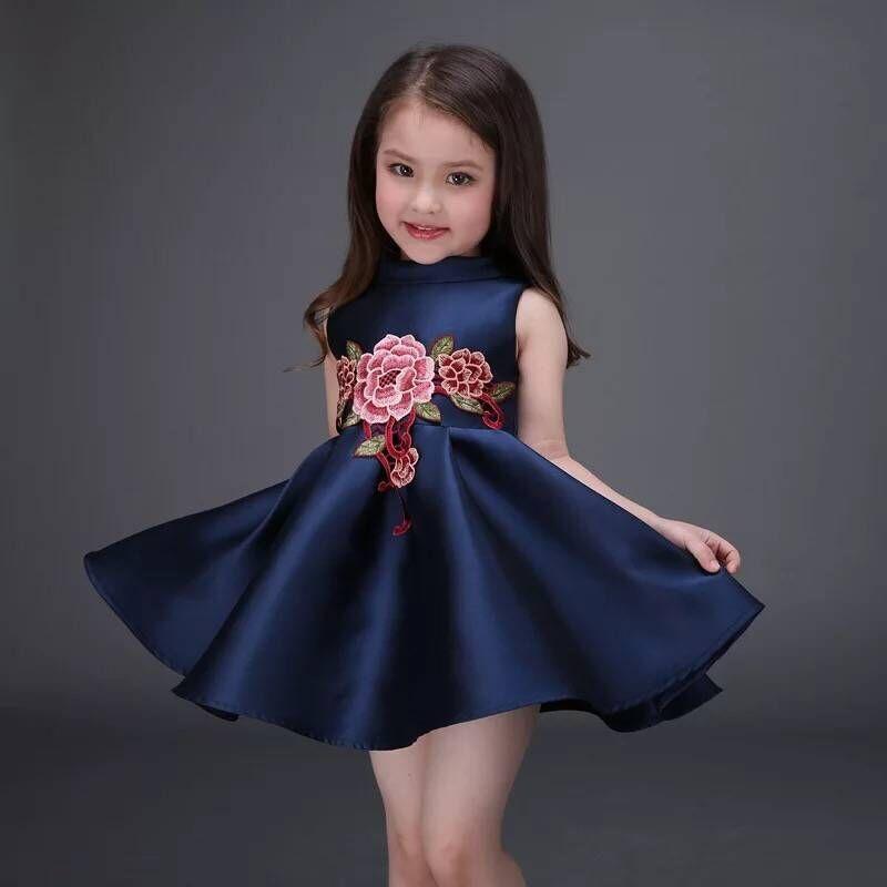2016 Girl Dress Girls Summer High-grade Wedding Dresses Children Embroidered Party Dresses Bridesmaid Dress Girl Kids Clothes