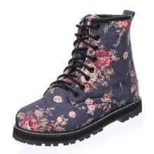 Floral Print Women Martin Boots Large size 35-43 for ladies shoes Denim Blue Casual Women shoes dewith fur Winter's wmen boots