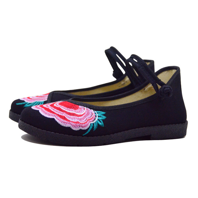 Fashion 2017 Old Peking Cloth Shoes, Chinese Style Totem Flats Mary Janes Embroidery Casual Shoes, Red+Black Women Shoes S189