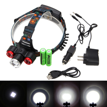15000lm 3x XML T6 светодиодный Масштабируемые налобный фонарь USB 18650 + AC/Car Зарядное устройство