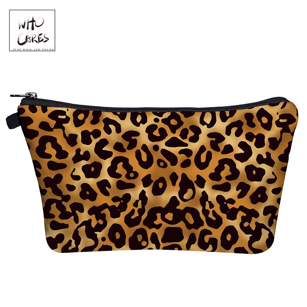 WHO CARES Leopard3D Shining Printing Makeup Bags Fashion Cosmetic Organizer Bag Travel Ladies Pouch Women Cosmetic Bag