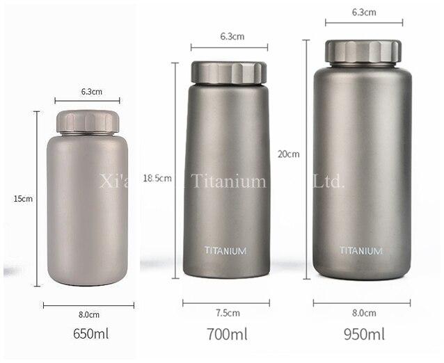 Чистая титановая одностенная прямая бутылка для воды 1050 мл 700 мл 650 мл защита от протечек Антикоррозийная матовая поверхность 2 крышки на выбор