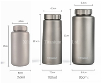 Pure Titanium Single Wall Straight Water Bottle 1050ml 700ml 650ml Leakage proof Anti corrosion Matte Surface 2 Caps for Option