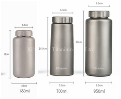 Pure Titanium Single Wall Straight Water Bottle 1050ml 700ml 650ml Leakage-proof Anti-corrosion Matte Surface 2 Caps for Option