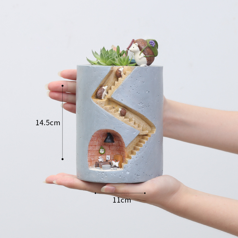 Image 4 - Roogo Resin Home Garden Flower Pot Succulent Planter Pots Outdoor Flowerpot For Balcony Decoration Home Desktop Pen Holder Decor-in Flower Pots & Planters from Home & Garden