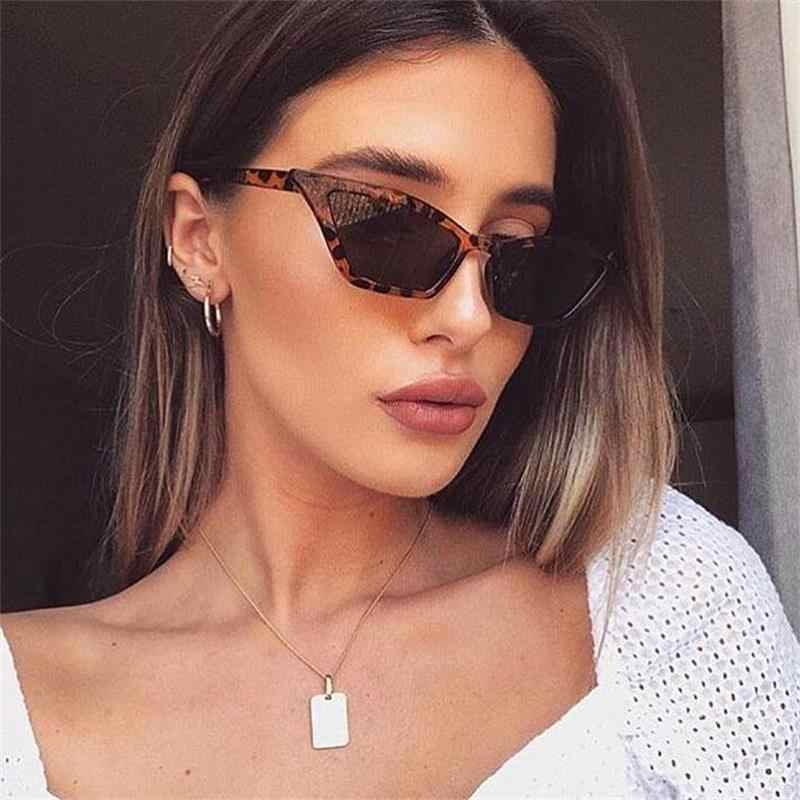 9d4672e7d9 Cute Leopard Cat Eye Sunglasses Women 2019 Luxury Red Black Small Narrow  Glasses Vintage Retro Triangle