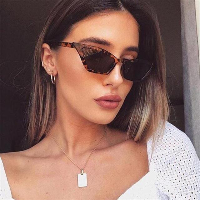 Милые леопардовые солнцезащитные очки кошачий глаз для женщин 2019 Роскошные красные черные маленькие узкие очки винтажные Ретро треугольные кошачьи солнцезащитные очки прозрачные