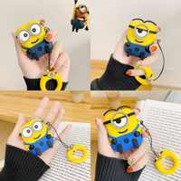 Finger Ring Strap Wireless Earphone Protective Cover 3D Minions Silicone Headphone Case for Apple AirPods 1 2 Wired Charging Box