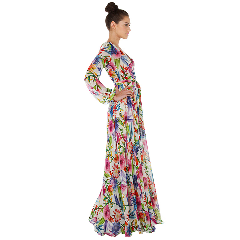 0381d30ad88 Richkoko New Fashion Women Maxi Dresses Long Sleeve Deep V Neck Floral  Print High Waist Casual Dress Women Tie Waist Slim Dress-in Dresses from  Women s ...
