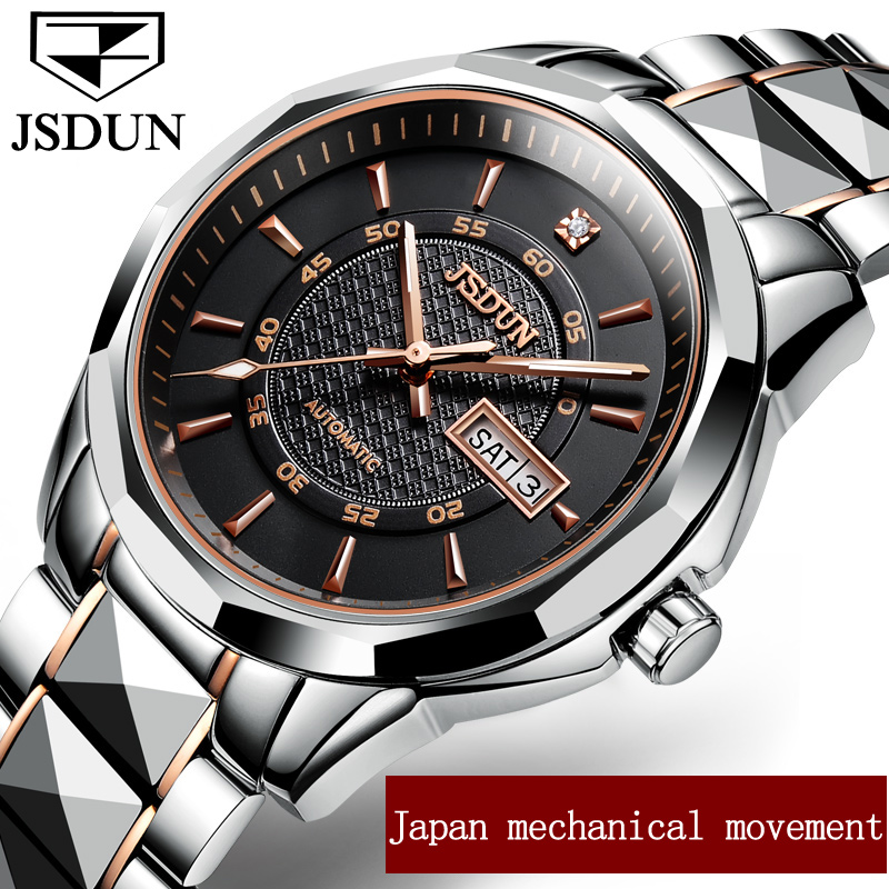 JSDUN Men Mechanical Watches Week/Date Top Brand Luxury Women Business Watch Clock Steel Belt Lady Automatic Wristwatch relogio read brand tops automatic watches men minimalism luxury black watch men full steel relogio japan movement week and date 8082