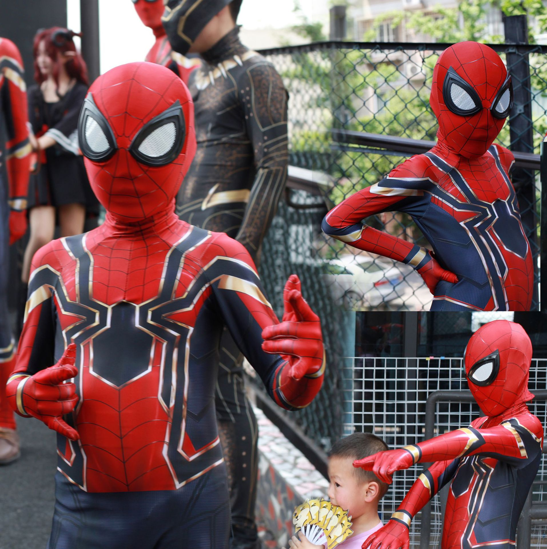Kids Spiderman Cosplay Costume Halloween Party