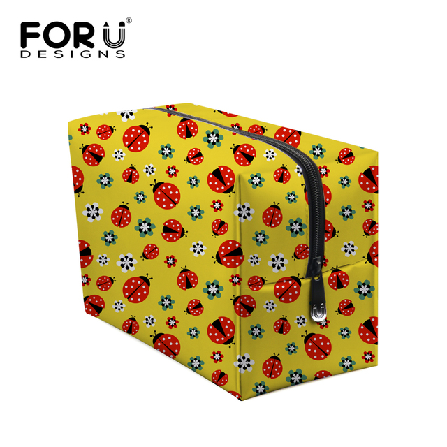 Multi Functional Women Make Up Bags Ladies Cute Ladybug Print Cosmetic Storage Bag Large Capacity Make Up Box High Quality