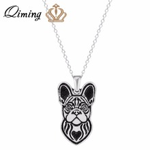 QIMING 3D Vintage Women Pendant Necklace Handmade French Bulldog Jewelry Great for all the Dog Puppy and Pet Lovers Girl Gift