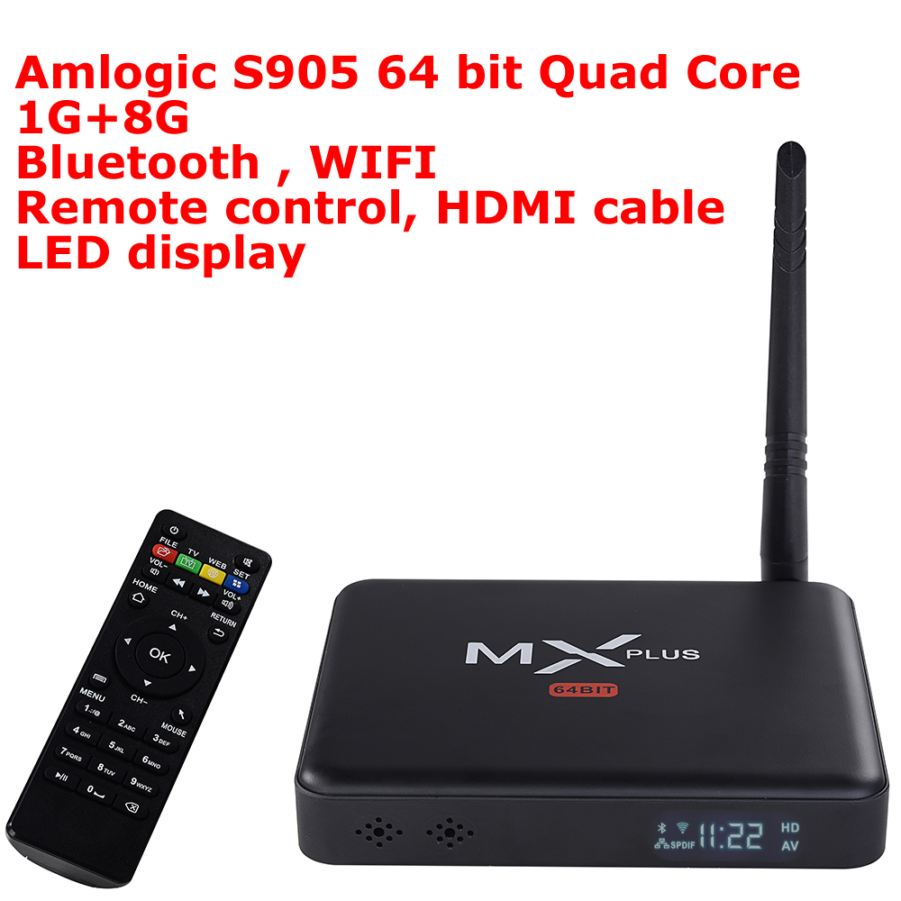 2016 New MX Plus II Android TV Box Amlogic S905 64 bit Quad Core 1G/8G ROM Smart TV Box LED display KODI 14.2 Bluetooth Wifi mx plus ii android tv box quad core amlogic s905 1g 8g rom smart tv box led display kodi 14 2 full loaded airplay apk