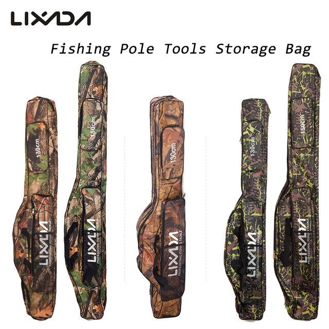 Cheap Lixada Fishing Bag Fishing Rod Carrier Oxford Fishing Pole Tools Storage Bag Case Fishing Gear Organizer 130/150cm