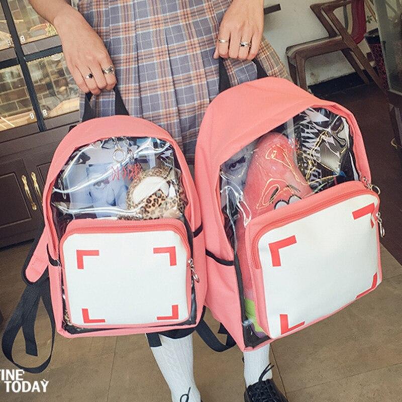 US $15.19 18% OFF|Nowe przezroczyste letnie torby plażowe Kawaii kobiety plecak bez nadruku tanie płótno szkolne torby Mochila Feminina piękny Mini