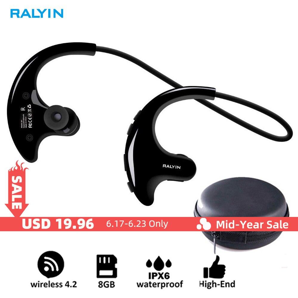 RALYIN Wearable Mp3 Music Player Sport Wireless Headphones Bluetooth Earbuds Built in 8GB Memory Storage Headset