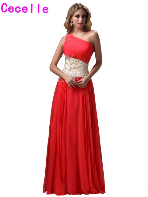 2017 Inexpensive Long Peach One Shoulder Evening Dresses Gowns With ...