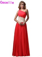 2017 Inexpensive Long Peach One Shoulder Evening Dresses Gowns With Strap For Teens A line Bead Chiffon Prom Evening Party Dress