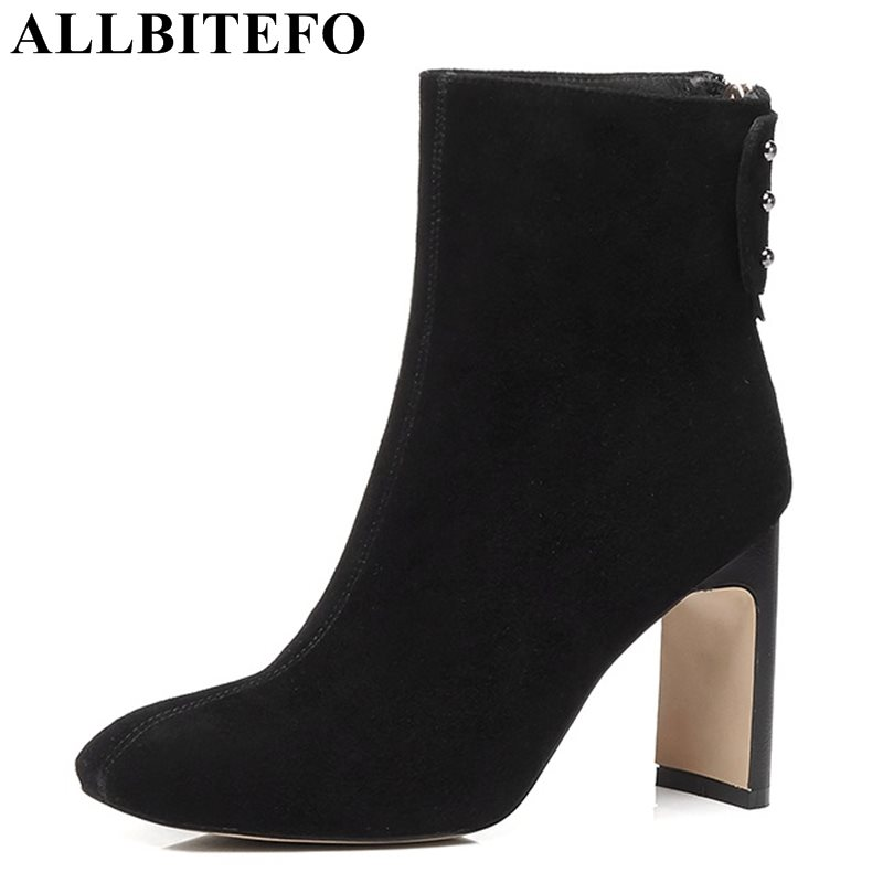 ALLBITEFO 2017 winter Nubuck leather square toe high heels women boots thick heel martin boots snow boots plus size:33-43 high quality genuine leather square heels martin boots for women round toe platform winter rhinestone snow martin boots