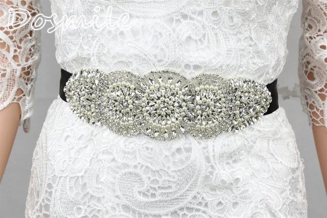 Elegant Rhinestone Pearls Beads Women's Cummerbund Belt Black Sashes for Wedding Dress Bridal Accessory