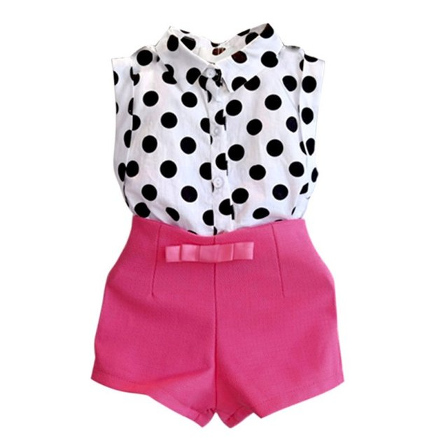 d52914d2c6d4 Summer Kids Baby Outfits Girl Short Clothes Set Polka Dot Shirt Tops + Rose  Shorts 2 6Y-in Clothing Sets from Mother   Kids on Aliexpress.com