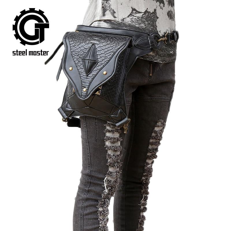 Стоманен майстор пънк женски Ретро рок чанта рамо мини телефони крак чанта мъже и жени пратеник рамото талия чанта
