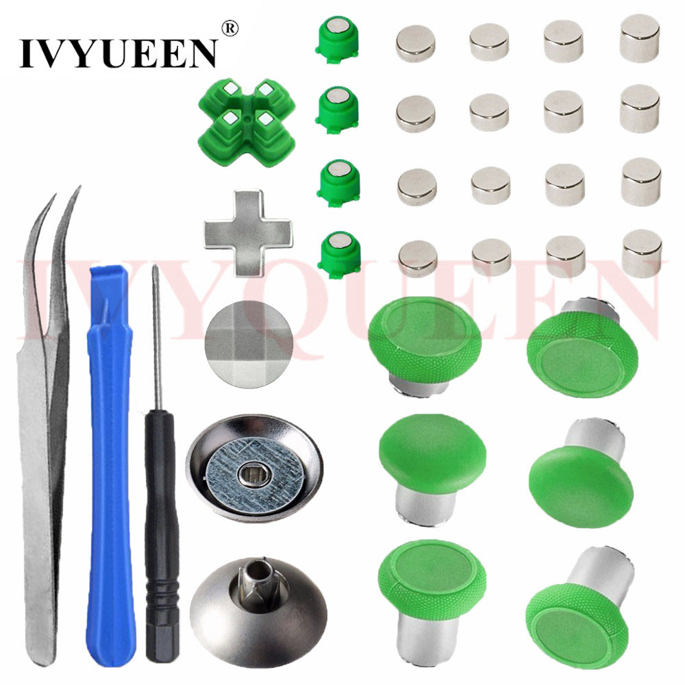 IVYUEEN for Playstation 4 PS4 Pro Slim Controller Swap Metal Thumbsticks Magnetic Analog Stick D pad Action Buttons Mod Kit