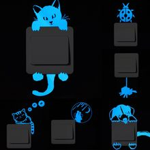 Luminous Cartoon Switch Sticker Glow in the Dark Cat Sticker Fluorescent Fairy Moon Stars Sticker Kid Room Decoration Home Decor(China)